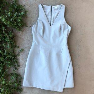 Helmut Lang Gray Asymmetrical Mini Sheath Dress